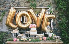 Gold Mylar LOVE balloons by Supplyandco via etsy. Nothing says love quite like big gold balloons. #weddingdecor #mylarballoons #reception