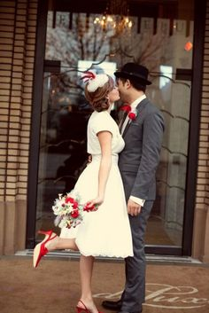 """We def need a """"foot pop"""" photo considering red shoes also Vintage Christmas Wedding Inspiration Wedding Trends, Trendy Wedding, Wedding Ideas, Wedding Blog, Vintage Christmas Wedding, Vintage Holiday, Wedding Vintage, Vintage Winter, Vintage Weddings"""
