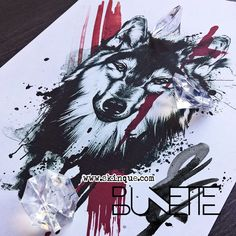 Realistic trash polka wolf tattoo bunette