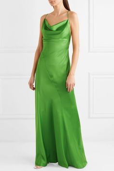 Leaf-green satin Slips on 86% triacetate, 14% polyester Dry clean Designer color: Grass Imported