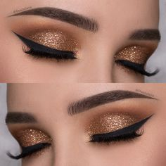 EASY Copper Glitter Smokey Eye Makeup Tutorial | Denitslava Makeup