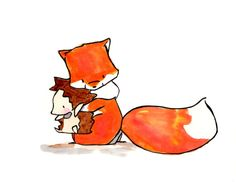 Found---Fox and Hedgehog--- Nursery Art Illustration Print 8x10
