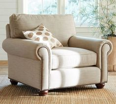 Webster Roll Arm Upholstered Armchair with Bronze Nailheads, Down Blend Wrapped Cushions, Twill Cream