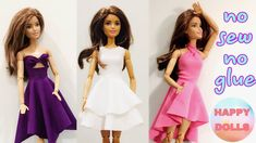 Easy DIY 👗 doll clothes no sew no glue Diy Doll Clothes No Sew, Sewing Barbie Clothes, Barbie Dolls Diy, Barbie Sewing Patterns, Doll Dress Patterns, Barbie Dress, Sewing Dolls, Doll Dresses, Girl Dolls