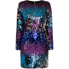 TFNC Paris Rainbow Sequin Dress ($68) ❤ liked on Polyvore featuring dresses, sequin cocktail dresses, tfnc dresses, tfnc, rainbow dresses and blue color dress