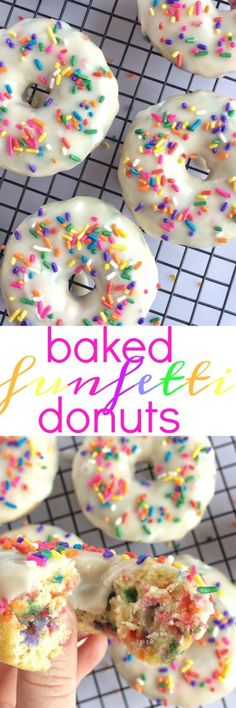 Baked donuts filled with fun sprinkles and dunked in a vanilla glaze. Mix up a simple dough and you'll have baked funfetti donuts in no time. (No Cook Snack Mix) Delicious Donuts, Delicious Desserts, Yummy Food, Just Desserts, Dessert Recipes, Yummy Treats, Sweet Treats, Donut Filling, Baked Donuts