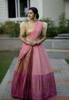 If you are looking for Pattu half sarees to add a twist to a traditional saree look, check out these 10 half sarees that are perfect! Lehenga Saree Design, Half Saree Lehenga, Lehnga Dress, Silk Lehenga, Saree Look, Lehenga Designs, Lehanga Saree, Pattu Saree Blouse Designs, Kanjivaram Sarees