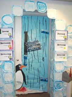"Showing the movie ""Happy Feet"" at school? Get the kids in the mood by decorating the classroom doors with penguins. - Southern Outdoor Cinema event planning tip for promoting a movie night at school."