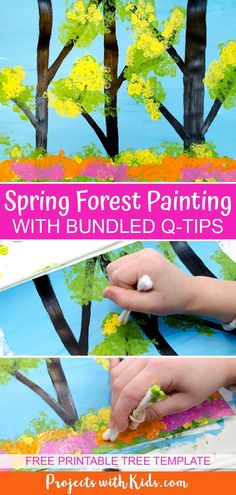 This gorgeous spring forest painting is so fun to make! Using bundled q-tips makes this an easy art project for kids of all ages. art projects for kids preschool Spring Forest Painting with Bundled Q-tips Spring Art Projects, Spring Crafts For Kids, Easy Art Projects, Projects For Kids, Spring Flowers Art For Kids, Children Art Projects, Art Project For Kids, School Art Projects, Spring Forest