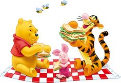 Winnie and friends having a picnic.