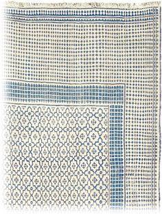 textile iranien : tissage coton bleu - blanc, 1720, 18e siècle