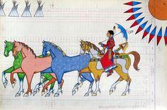 "/Black Pinto Horse, (Arikara/Hidatsa/Crow), ""Bringing My Daddy's Ponies Home"" Native American Regalia, Native American Artwork, Native American Artists, American Indian Art, Native Drawings, Horse Drawings, Indian Horses, Indian Quilt, Nativity Crafts"