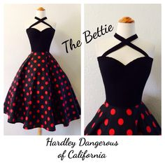 Black Cherry Red BETTIE Cross Front Multi-Way Halter Dress, ROCKABILLY 1950s Style Swing Dress, Polkadot Pin Up Birthday Special Occasion by MoonbootStudios on Etsy https://www.etsy.com/listing/218342054/black-cherry-red-bettie-cross-front