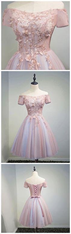 CHIC A-LINE OFF-THE-SHOULDER HOMECOMING DRESS MODEST PINK CHEAP SHORT PROM DRESS AM109