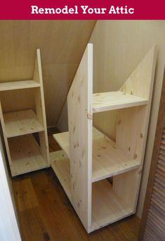 Under stairs storage? Under stairs storage? Attic Storage, Storage Stairs, Under Stair Storage, Eaves Storage, Storage Room, Garage Storage, Garage Attic, Smart Storage, Closet Storage Shelves