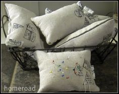 How cute are these pin cushions, would like them full sized for the sofa!