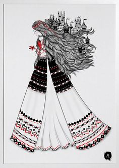 Since starting to love the Romanian craft art and embroidering traditional Romanian blouses myself, I started searching for inspirational works that portrayed a similar love. Princess Illustration, Fashion Illustration Sketches, Illustration Art, Mother Art, Ukrainian Art, Hippie Art, Traditional Art, Cartoon Art, Cute Art