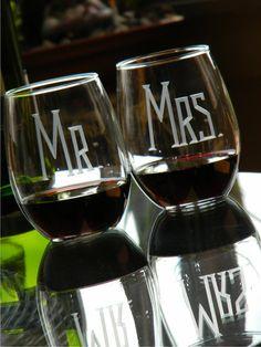 21oz MR & MRS Stemless Wine Glasses Set of 2 by glassgirljen