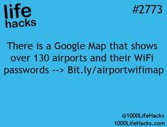 1000-life-hacks: Airport WiFi passwords >...