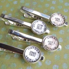Personalized postmark tie clip, customized with names, dates, event; by CrowBiz. Great for dads, grads, weddings >>
