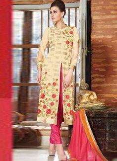 Vibrant Beige Pink Embroidery Work Georgette Pakistani Suit