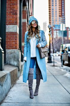 cd25fbfec5 New Winter Color - Asos Baby Blue Coat    Similar Blue Beanie    Revolve  Eyelash Sweater    Rolla s Jeans    Stuart Weitzman  Highland   Over-The-Knee Boots ...