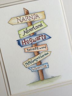 Jump into the trail of childrens books with this made to order sign post watercolor on cold press paper. Excellent for a gender neutral nursery or