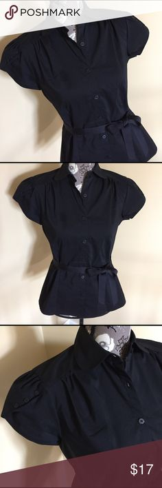 Worthington black button down top Worthington button down top in black size small. Can be worn with or without belt. Material 62% cotton, 33% polyester, 5% spandex. Worthington Tops Button Down Shirts