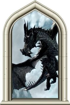 """24"""" Castle Scape Window Instant View Black Dragon 1 Wall Sticker Decal Graphic Mural Home Kids Game Room Office Art Decor"""