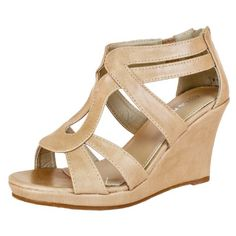 Top Moda JOB-8 Strappy Open Toe Low Wedge Sandal COLOR BEIGE SIZE 6