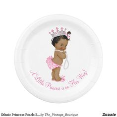 Ethnic Princess Pearls Baby Shower 7 Inch Paper Plate