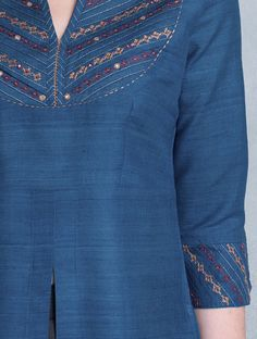 Blue Zari & Thread Embroidered Yoke Matka Silk Kurta Embroidery On Kurtis, Hand Embroidery Dress, Kurti Embroidery Design, Embroidery On Clothes, Embroidery Suits, Embroidery Fashion, Denim Kurti Designs, Kurta Designs Women, Blouse Designs