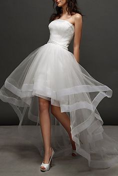 Ball Gown Strapless Asymmetrical Tulle Wedding Dress...What a beautiful dress! I would wear this on a Tuesday afternoon! :)