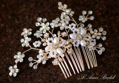 Pretty in golden Comb  Bridal Flower Hair Accessory  Bride