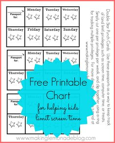Free Printable Chart for Encouraging Kids to Limit their Screen Time