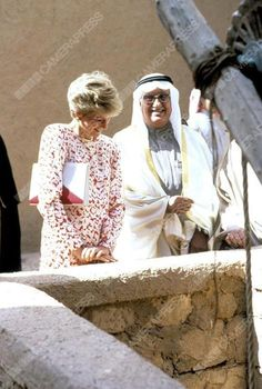 18 November 1986: Princess Diana at a visit to an ancient fort in Riyadh city, in Saudi Arabia during an official tour to the Gulf States.