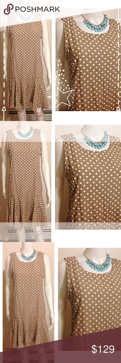 Statement Polka Dot Dress ZOEY Polka Dot Ruffle Dress Tan and White Super adorable trendy popular hot Beach casual classy formal party bachelorette wedding bride  cute shirt pageant date night anniversary birthday date night cute girly  party  womens cocktail work school office career weddings luxury rich designer pretty style trend runway model girl woman womens fashion trend trendy hot popular sexy sister gift Easter mom Dresses