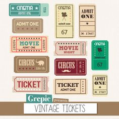 "Tickets clipart pack: ""VINTAGE TICKETS"" with movie tickets, circus tickets, admit one tickets for scrapbooking, cards, invites"