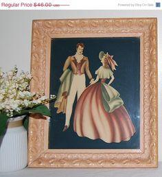 SALE 40s Antebellum Couple with Frame by CheekyVintageCloset, $36.80