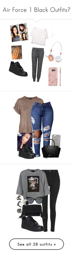 """""""Air Force 1 Black Outfits"""" by sara-keita ❤ liked on Polyvore featuring MANGO, Velvet by Graham & Spencer, Frends, NIKE, Sydney Evan, Balmain, Native Union, MICHAEL Michael Kors, Topshop and Forever 21"""