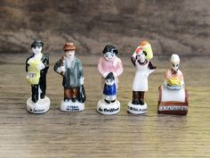 Vintage French FEVES porcelain glazed .5 VILLAGERS by FrenchMelody