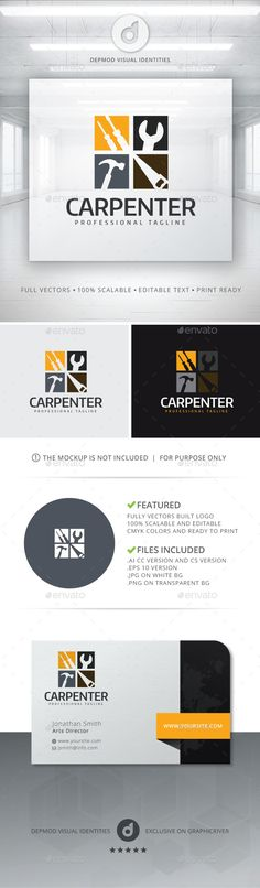 Carpenter - Logo Design Template Vector #logotype Download it here: http://graphicriver.net/item/carpenter-logo/11855355?s_rank=1594?ref=nexion