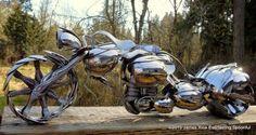 The Owl Motorcycle Spoon Art Custom Chopper by EverlastingSpoonful