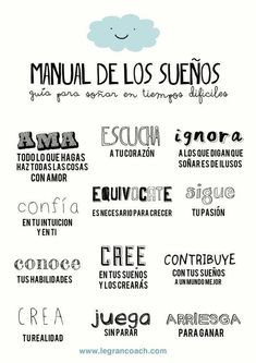 Pieces of a dream: Manual de los sueños by The Words, More Than Words, Mr Wonderful, Spanish Quotes, Teaching Spanish, Learn Spanish, Speak Spanish, Spanish Grammar, Sentences