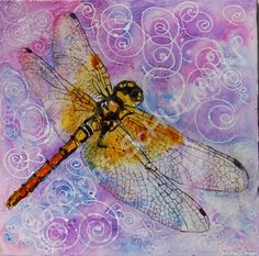 Bellflower Purple Dragonfly Watercolor Painting art   Dragonfly wall art with beautiful golden orange dragonfly image on bellflower purple and lilac background. Lots of subtle shades of lavender ranging from the light sweet lilac to periwinkle plum. Contemporary modern abstract art for sale depicting gold and black dragonfly.