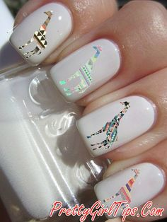 @prettygirltips White Nails with Giraffes