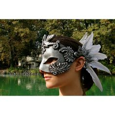 MADE TO ORDER baroque swan silver mask leather latex feather white... ($150) ❤ liked on Polyvore featuring costumes, leather halloween costumes, renaissance halloween costumes, white costumes, goth costume and gothic halloween costumes