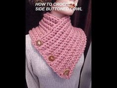 How to crochet A BUTTONED WRAP SCARF COWL, crochet pattern, vid # 979 - YouTube