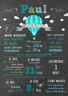 Affiche personnalisée 1er anniversaire #chalkboard #firstbirthday #tableaunoir #PremierAnniversaire #hotairballoon