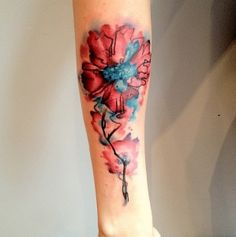Watercolor flower tattoo by Pete Zebley at Body Graphics, Philadelphia, PA